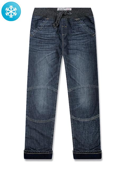 BJN005029 джинсы для мальчиков утепленые, медиум дарк