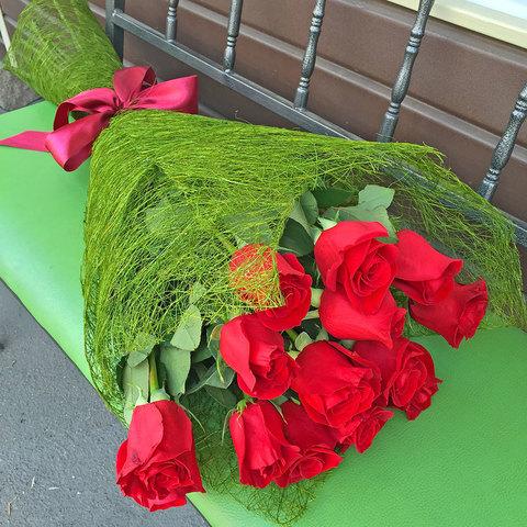 Букет из 11 красных роз 100 см