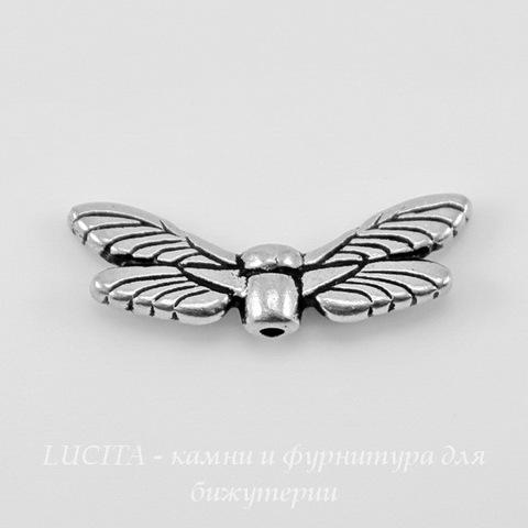 "Бусина TierraCast ""Крылья стрекозы"" 20х7 мм (цвет-античное серебро) ()"