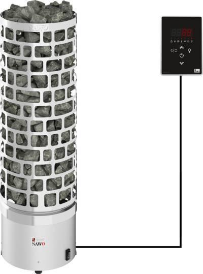Серия Aries: Электрическая печь SAWO ARIES ARI3-90Ni2-P (9 кВт, выносной пульт, нержавейка, встроен. блок мощности)