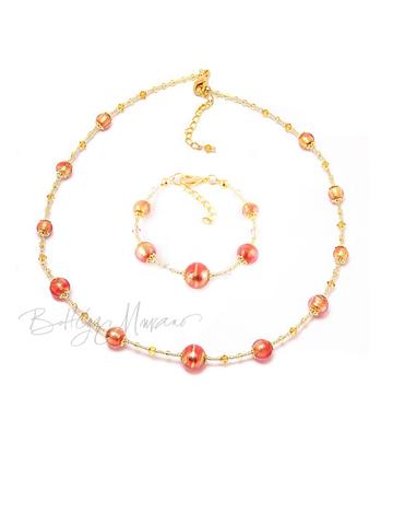 Комплект Примавера золотисто-розовый (ожерелье, браслет)