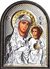 Иерусалимская икона Богородицы  в серебряном окладе.
