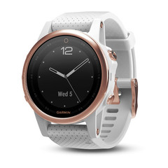 Умные женские спортивные часы Garmin Fenix 5S Sapphire - розовое золото с белым ремешком 010-01685-17