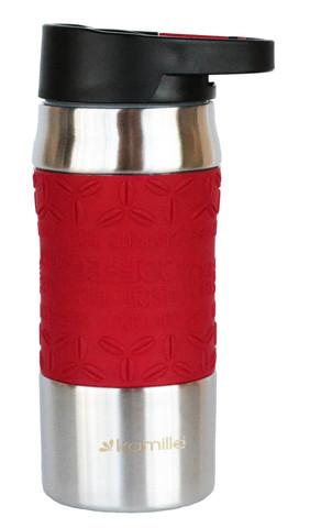 Термокружка с карабином Kamille 380 мл. красная