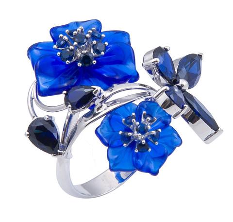Кольцо с цветами из кварца и сапфиром Арт. 1159сс