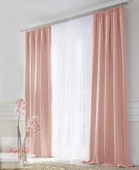 XL-Комплект штор блэкаут (розовый) и вуаль (белый)