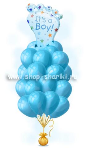 букет шариков для мальчика на выписку из роддома  www.shop-shariki.ru