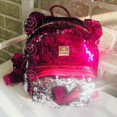 Рюкзак с пайетками и ушами Фуксия-Серебристый меняющий цвет Звезда