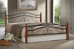 Кровать АТ-803 200x120 (Double Bed) Черный/Красный дуб