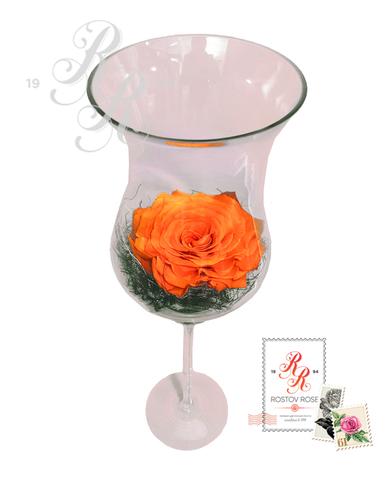 Роза оранжевая в большом бокале