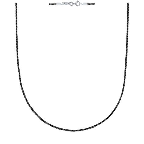 Текстильный шнур-черный для подвесок с замочками из  серебра