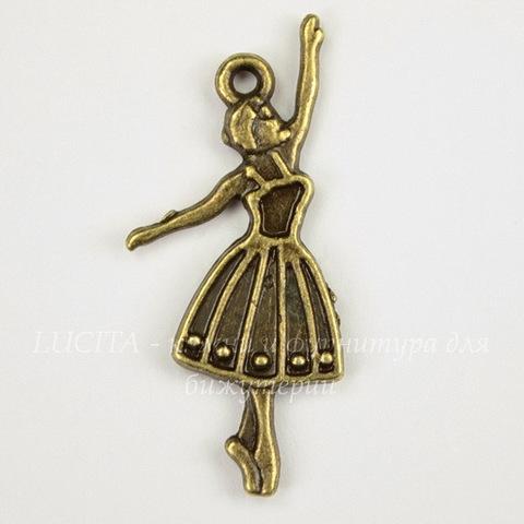 "Подвеска ""Балерина"" (цвет - античная бронза) 32х13 мм"
