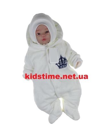 Велюровый комбинезон для новорожденных Корона молочный с синим