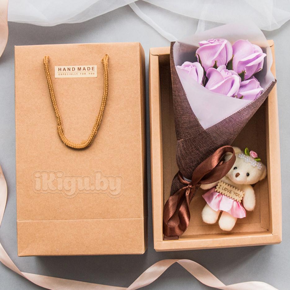 """Подарки на 8 марта Ароматизированное мыло """"Мишка С Букетом Роз"""" мишка_лиловый.jpg"""