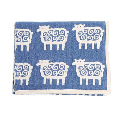 Одеяло детское /плед/ хлопок Klippan, Барашки, 90x140 см, голубой-белый