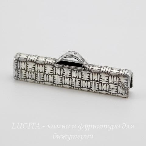 Винтажный концевик для лент 25 мм (оксид серебра) ()