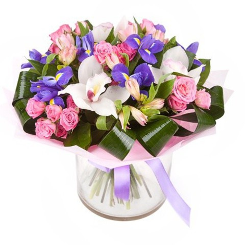 """Букет """"Встреча"""" с орхидеей (3шт), кустовыми розами (5шт), ирисами (7шт)"""