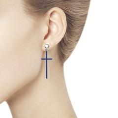 94023775 - Серьги Кресты из серебра с синими фианитами