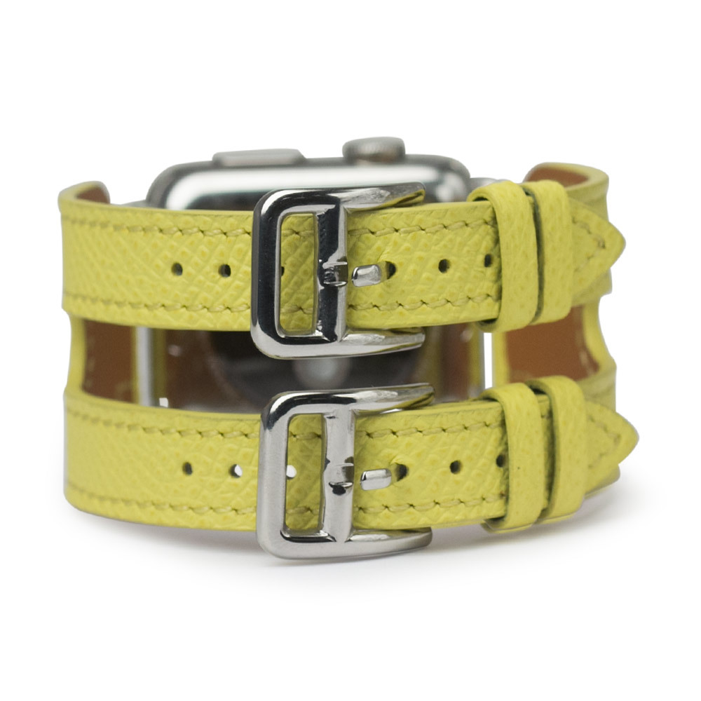 Ремешок для Apple Watch 38мм ST Double Buckle из натуральной кожи теленка, желтого цвета