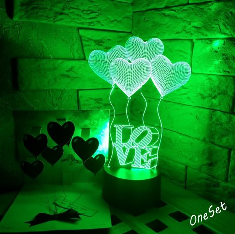 3D ночник Шарики сердечки LOVE
