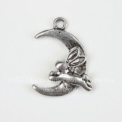 "Подвеска  ""Кролик на Луне"" (цвет - античное серебро) 22х17 мм"