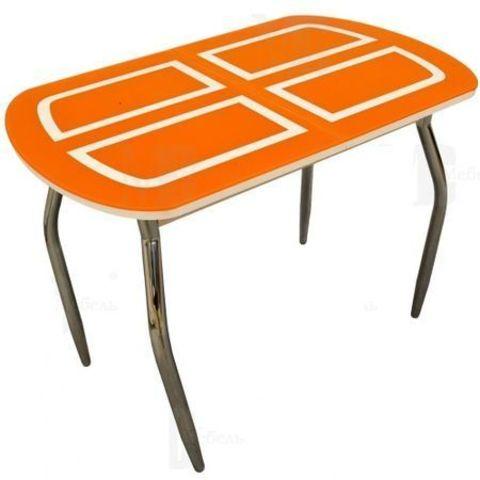 Стол обеденный МС мини прямоугольный оранжевый, дуб светлый