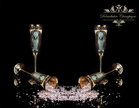 Набор для Шампанского на 2 персоны Dolmabahce (Ручная Роспись)