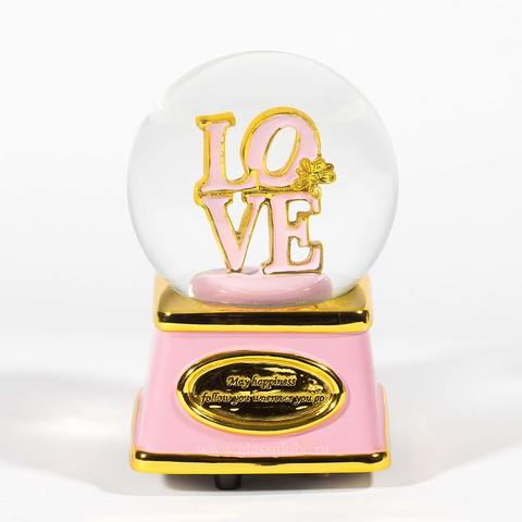 Стеклянный снежный шар Love