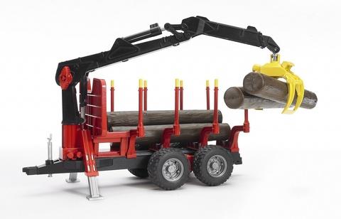 Bruder: Прицеп для перевозки леса с манипулятором и брёвнами 02-252 — Брудер