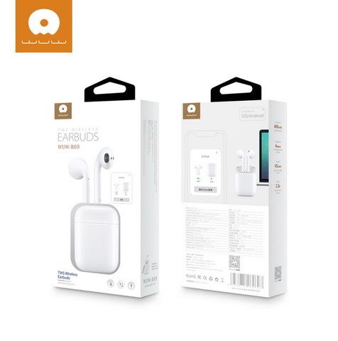 Наушники вкладыши Bluetooth WUW R69 TWS, BT5.0, Wireless box charger, POPUP white