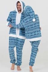 """Пижама-кигуруми Футужама """"Санта"""" синий со снежинками"""