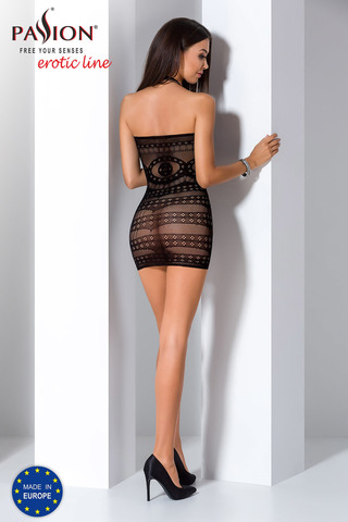 Короткое эротическое платье-сетка черное