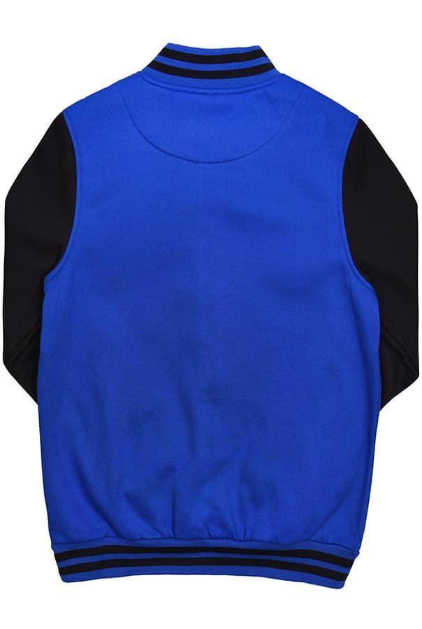 Бомбер синий с черным фото спина