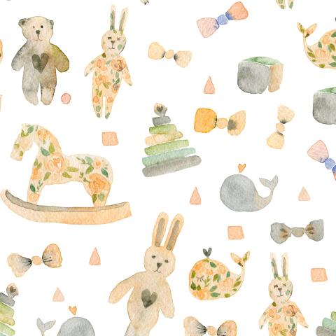 Детские игрушки в теплых оттенках