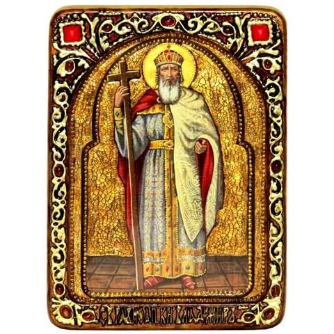 Инкрустированная живописная икона Святой равноапостольный князь Владимир 29х21см на сакральном кипарисе в подарочной коробке