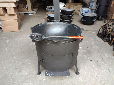 Комплект 30 литров, печь с трубой и дверцей + узбекский казан + шумовка