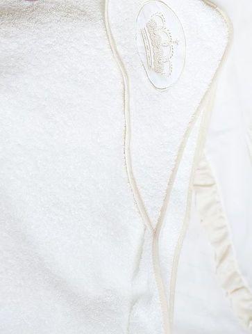 Полотенце детское 100х100 Luxberry Queen с капюшоном белое/бежевое