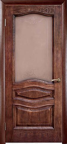 Дверь Green Plant Леона (Патина Голд, остекленная, массив сосны)