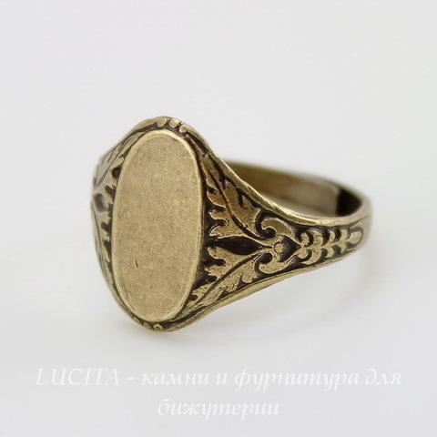 Винтажная основа для кольца с площадкой 14х8 мм для кабошона (оксид латуни) ()