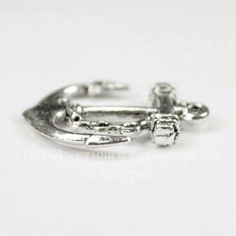 "Подвеска ""Якорь"" (цвет - античное серебро) 27х25 мм"