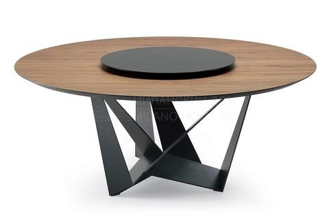 replica table CATTELAN SCORPIO  ROUND WOOD ( by Steel Arts)