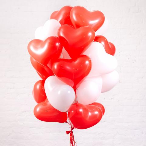 Букет из 25 Сердец (Красные и Белые)