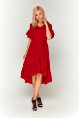 Ярко-красное длинное платье