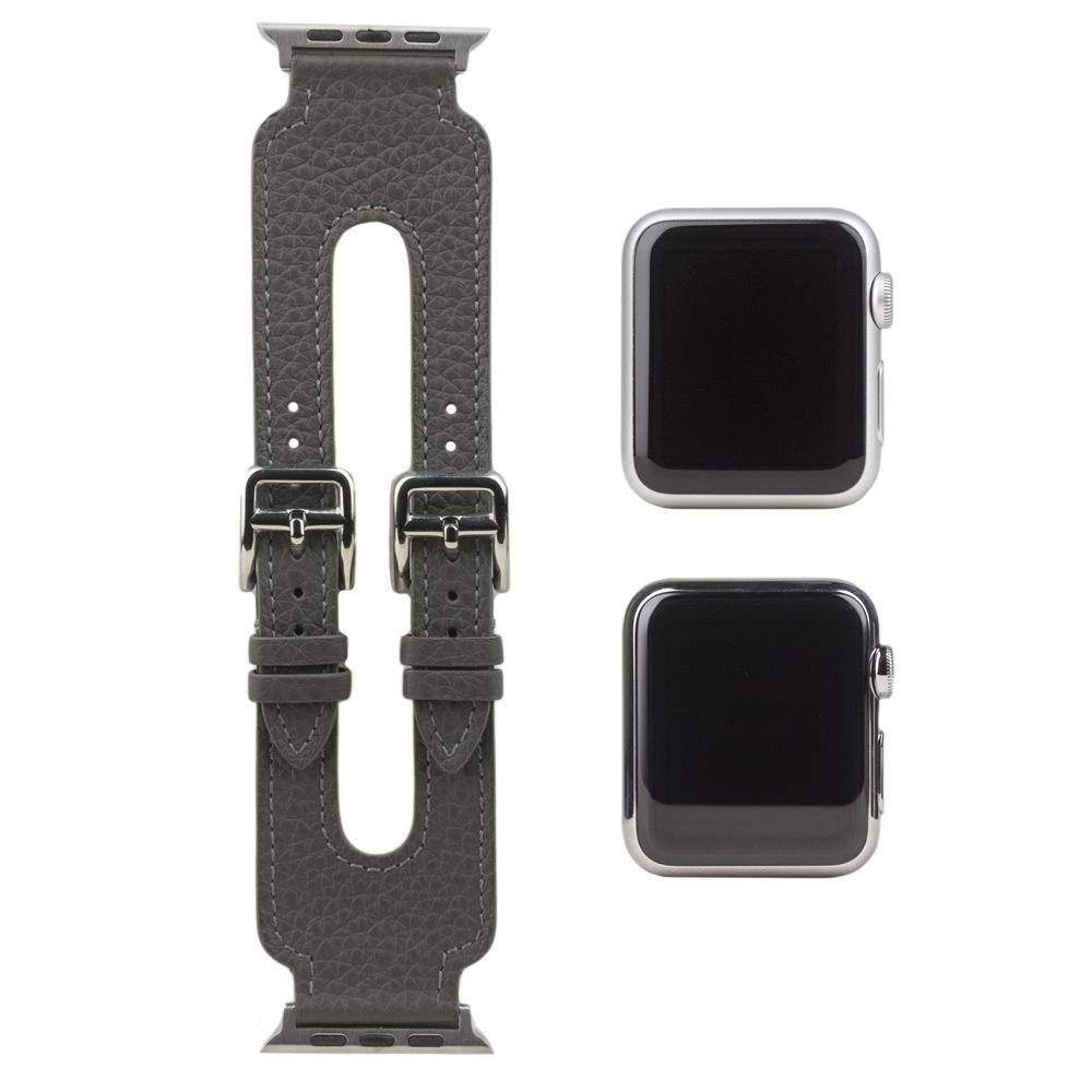 Ремешок для Apple Watch 42мм ST Double Buckle из натуральной кожи теленка, серого цвета