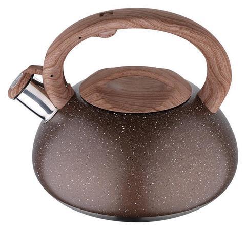 Чайник Wellberg Whistling Мрамор 3 литра со свистком коричневое мраморное покрытие (WB-6101)