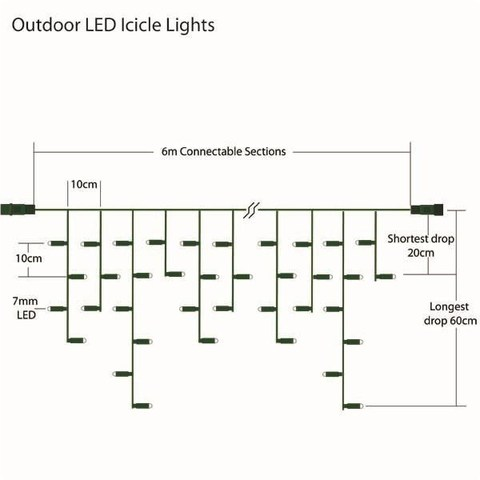 Схема гирлянды бахрома 5 м на 0,7  м ПВХ провод LED синяя