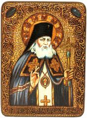 Инкрустированная Икона Святитель Лука Симферопольский, архиепископ Крымский 29х21см на натуральном дереве, в подарочной коробке