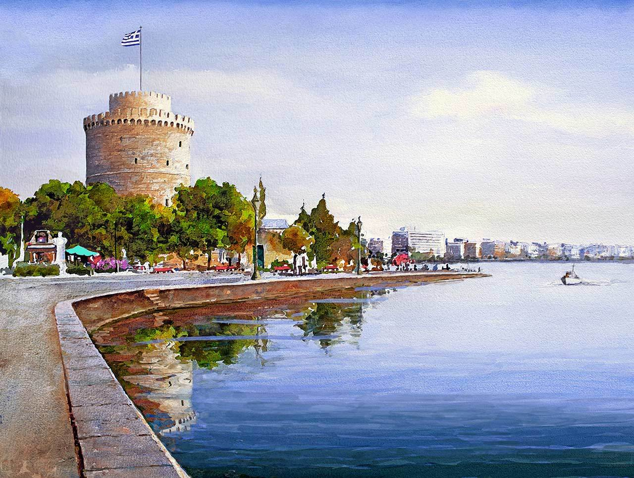 Картина раскраска по номерам 40x50 Город на набережной ...