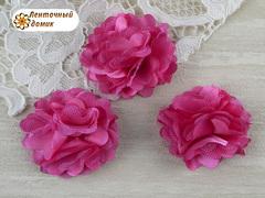 Цветы атласные с фатином малиновые диаметр 5 см