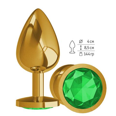 Gold Анальная втулка с зеленым кристаллом большая
